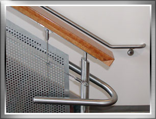 Stainless steel railing close up